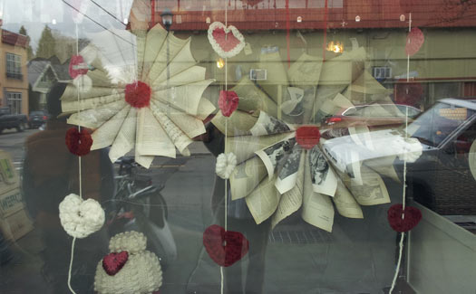 Crafty window display at Close Knits.